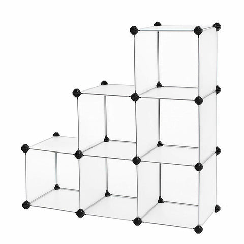 LAGGRA 6 Cube Black Modular Open Clothes Toys Storage Organizer - Rewardeals