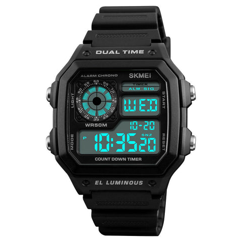 Men's Military Two Time Digital Alarm Sport Timer Chronograph Wrist Watch - Rewardeals
