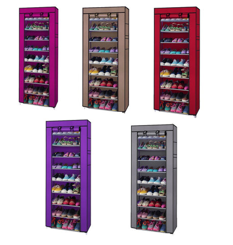 10 Tier Shoe Rack Closet Organizer with Dust Free Cover - Rewardeals