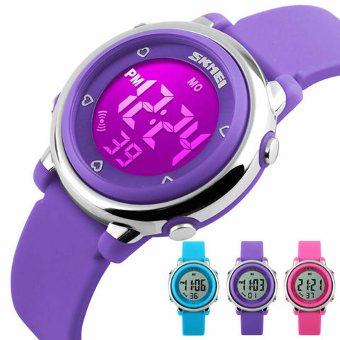 Kids Boy's Girl's LED Waterproof Electrical Digital Sports Alarm Stopwatch Watch - Rewardeals