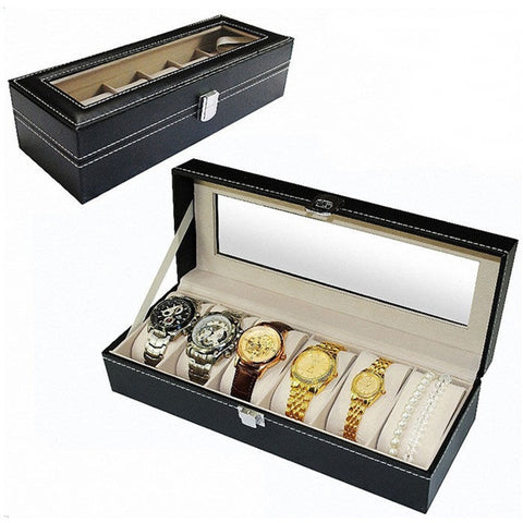 High End 6 Slots Leather Glass  Watch Display Case Box - Rewardeals