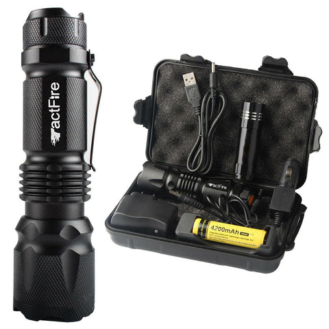 10000 Lumens Zoom LED Rechargeable 18650 Flashlight Torch Set - Rewardeals
