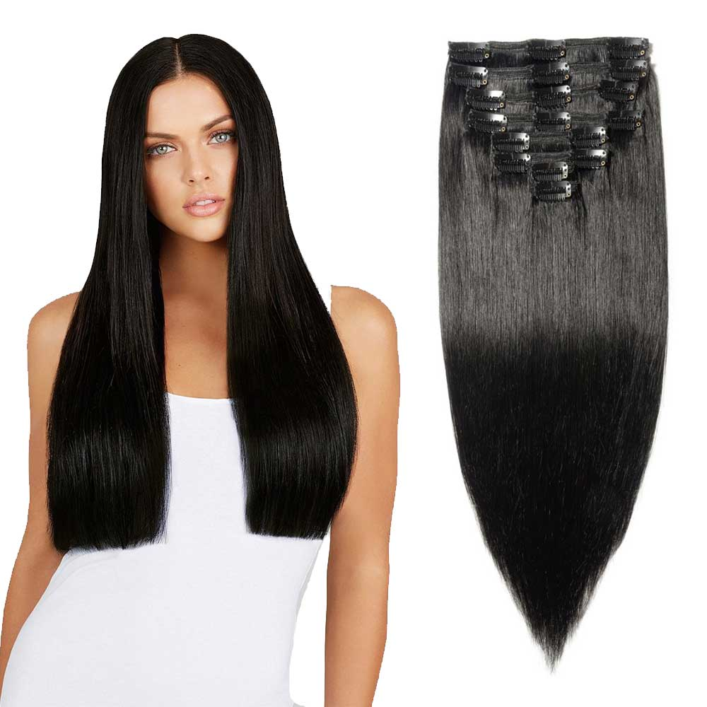 Laggra Full Head Remy 22 100 Real Human Hair Clip On Extensions 8