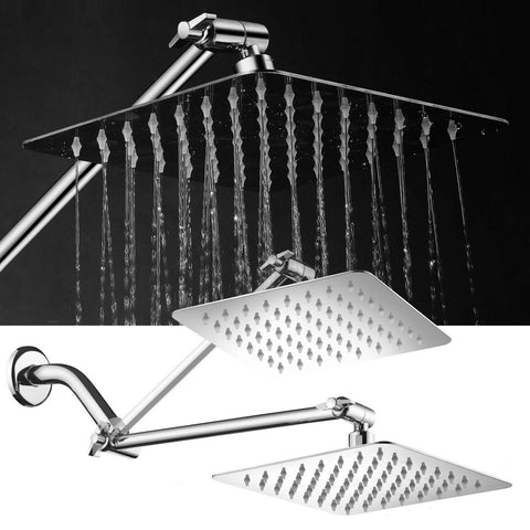8-Inch Stainless Steel Square Rainfall Shower Head with Extension Arm - Rewardeals