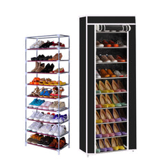 10 Tier Shoe Rack Closet Organizer with Dust Free Cover