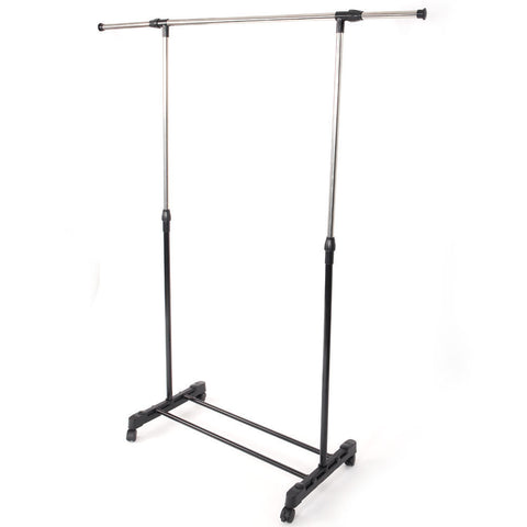 LAGGRA Rolling Wheel Adjustable Single Rail Bar Hanger Clothes Rack - Rewardeals