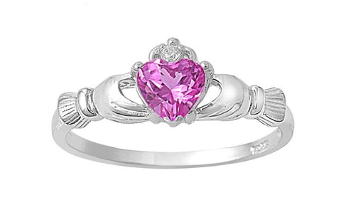 Ladies Heart Shaped Sterling Silver Irish Birthstone Ring - Rewardeals
