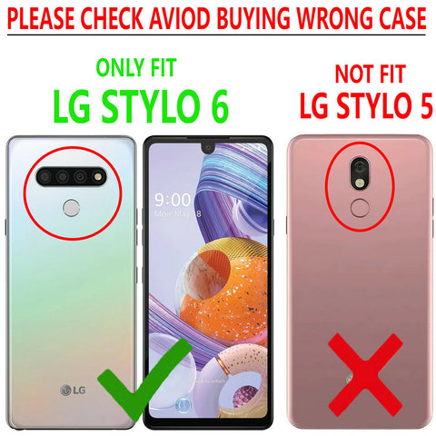 LG Stylo 6 Case, Belt Clip Armor Kickstand Phone Cover with Tempered Glass Protector