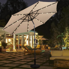 10 Ft Durable LED Patio Beach Solar Umbrella