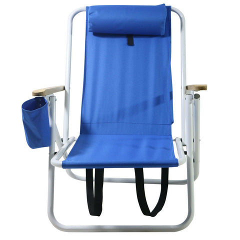 Folding Portable Blue Beach Camping Chair with Pillow and Cup Holder - Rewardeals