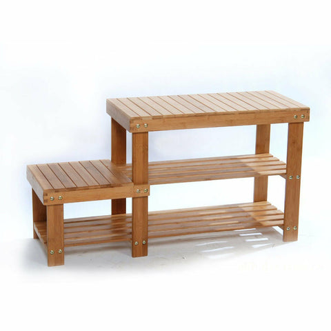 Bamboo Entryway Storage Bench Rack Shelf Shoes Organizer - Rewardeals