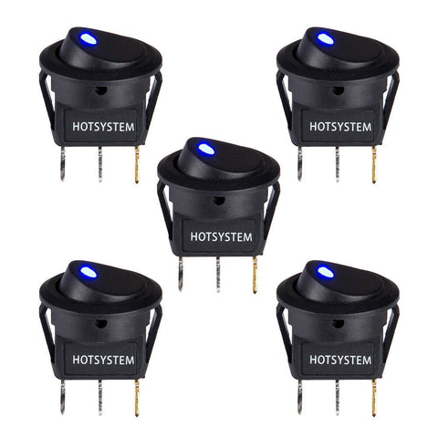 5x Hotsystem LED Dot Light 12V Car Boat Round Rocker ON/OFF Toggle SPST Switch - Rewardeals