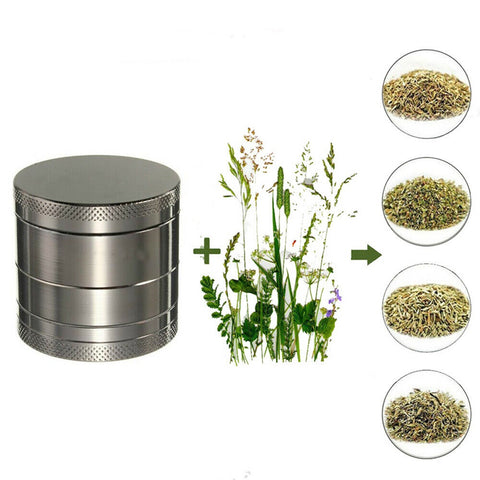 Tobacco Herb Grinder Spice Herbal 4 Piece Metal Chromium Smoke Crusher - Rewardeals