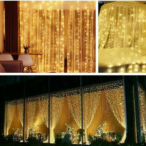 300 LED Curtain Xmas Party Wedding Lights USB String Light with Remote