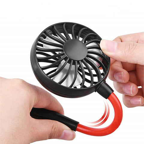 LAGGRA Portable USB Rechargeable Neckband Dual Cooling Mini Fan - Rewardeals