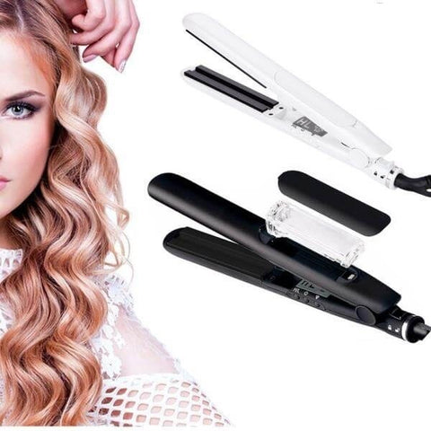 LAGGRA Professional Argan Oil Ceramic Flat Iron Steam Styler Hair Straightener - Rewardeals