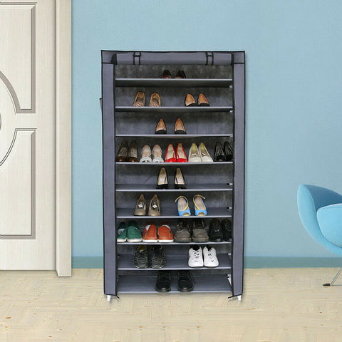 10 Tier Gray Shoe Rack Adjustable Layer Height Shoe Storage Cabinet Organizer - Rewardeals