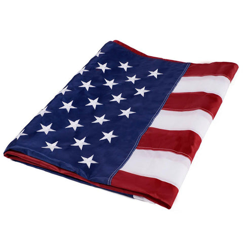 Heavy Duty USA American Embroidered Outdoor Flag with Sewn Stripes Stars - Rewardeals