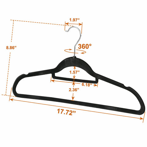 100 Non Slip Velvet Space Saving Clothes Hangers