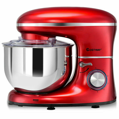 LAGGRA PRO Electric 6 Speed 6.3 Quart 660W Tilt Head Stainless Steel Red Food Stand Mixer - Rewardeals