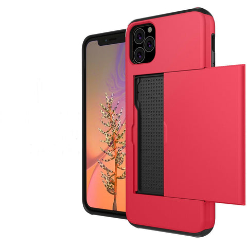 Durable Credit Card Wallet Pocket Case For iPhone 11 Pro Xs Max X 8 Plus Red iPhone 8 Plus - Rewardeals