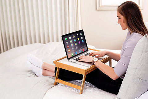 LAGGRA Adjustable Bamboo Wood Bed Serving Tray Lap Desk - Rewardeals