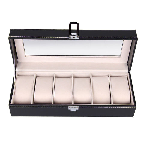 LAGGRA 6 Slot Leather Wrist Watch Display Organizer Storage Case - Rewardeals