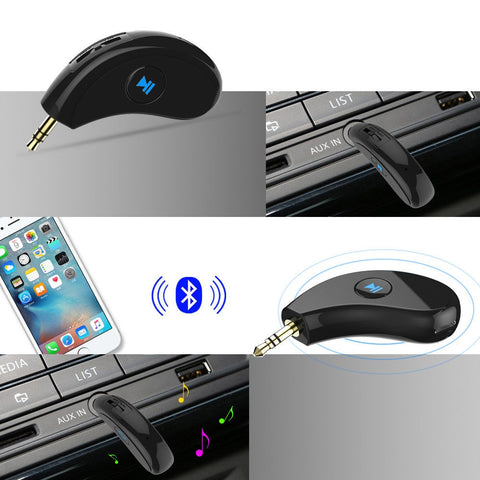 3.5mm AUX Car Bluetooth 4.2 Receiver Speaker Music Streaming Audio Adapter Mic - Rewardeals
