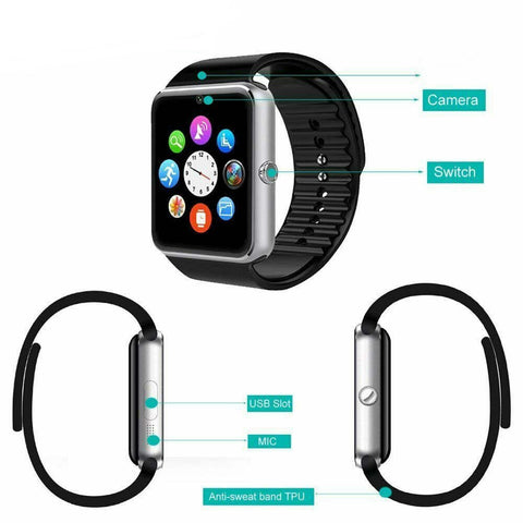 Unisex Bluetooth Smart Watch SIM Camera Pedometer GSM GPRS for Android - Rewardeals