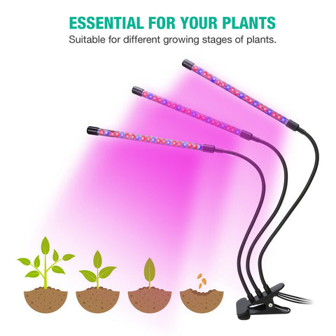 3 Head LED Indoor Plants Hydroponics Full Spectrum Plant Growing Lamp Lights