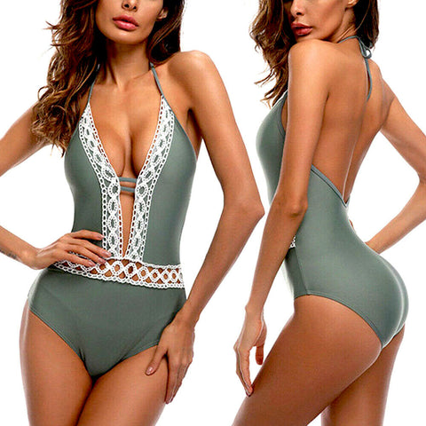 New Women One Piece Lace Push Up Padded Bikini Swimsuit Swimwear - Rewardeals