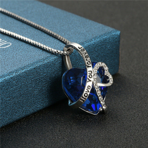 "Silver ""I Love You Forever"" Blue Crystals Infinity Heart Pendant Necklace - Rewardeals"