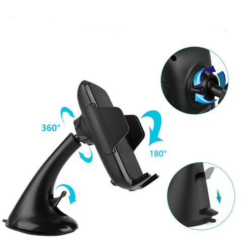 Fast Qi Wireless Car Charger Mount Holder for Samsung S9/S8 iPhone X 8 - Rewardeals