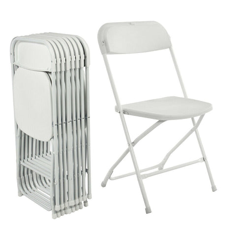 10 Premium Party Event Wedding Banquet Seat White Folding Chairs - Rewardeals