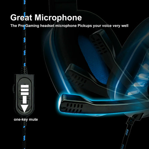 LAGGRA 3.5mm Gaming Headset Mic LED Stereo Headphones for PC PS4 Xbox ONE iPad
