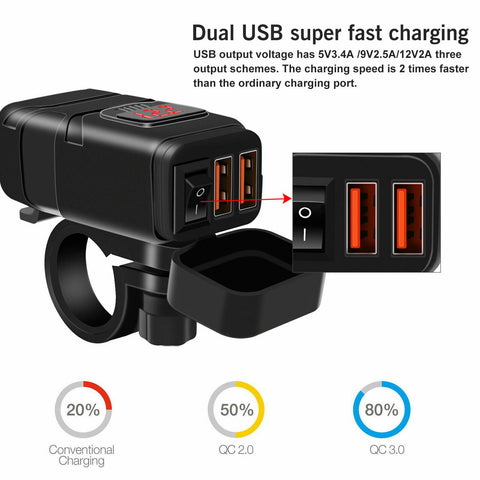 LAGGRA Motorcycle Bike LED Waterproof Dual USB Phone GPS Quick Charger Adapter