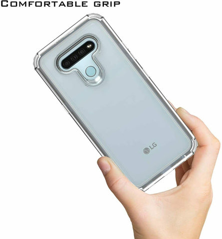 For LG Stylo 6 Hard Hybrid Armor Impact Full Body Case Cover Transparent Clear