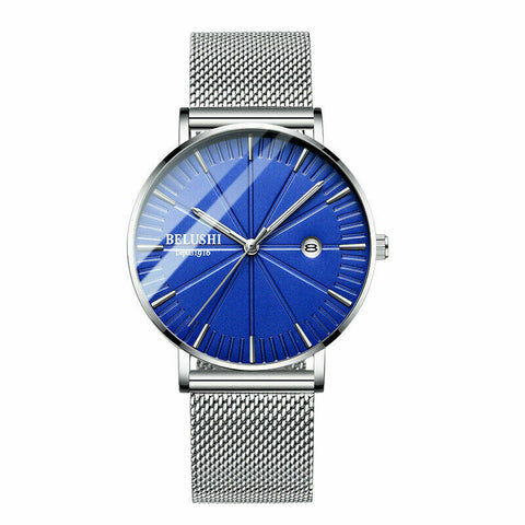 Minimalist Men's Stainless Steel Date Analog Mesh Band Casual Wrist Thin Watch - Rewardeals