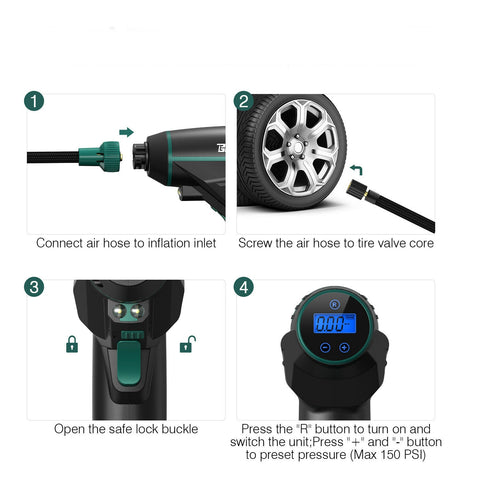 Digital Rechargeable Tire Inflator Cordless Air Compressor Car Vehicle Tire Pump - Rewardeals