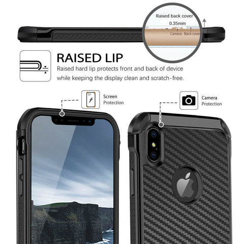 For iPhone 12 11ProMaxXSXRX87Plus Carbon Fiber Hard Case with Tempered Glass
