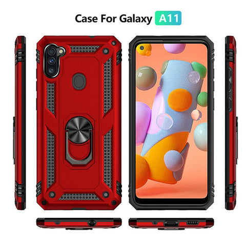 For Samsung Galaxy A11 Case, Ring Kickstand Phone Cover with Tempered Glass Protector