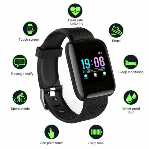 LAGGRA Heart Rate Oxygen Blood Pressure Fitness Tracker Sport Smart Watch Band