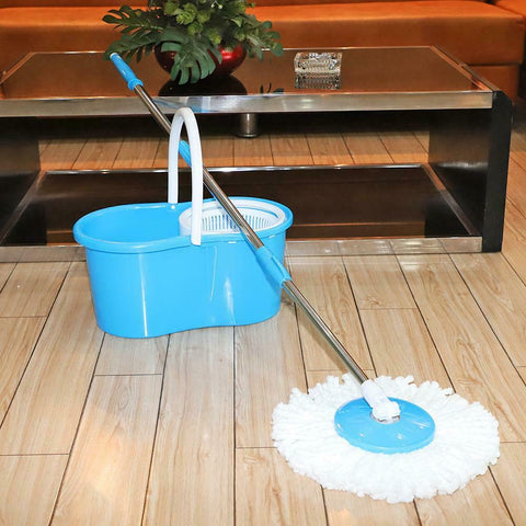 2x Microfiber 360 Degree Rotating Head with Easy Magic Floor Mop Bucket
