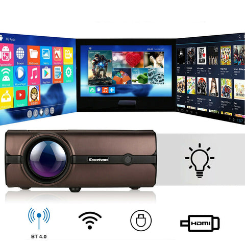 Pro 4K WiFi 1080P Full HD Smart 3D LED Projector Home Theater Cinema