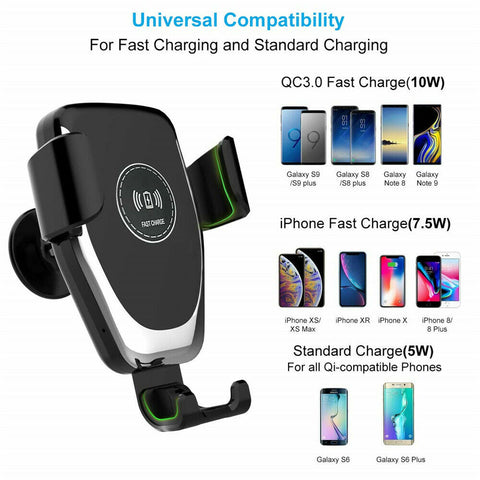 QI Wireless Fast Charger Car Mount Holder Stand For iPhone X XS Samsung S9 - Rewardeals