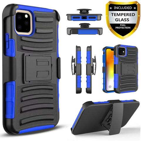 For iPhone 11 11 Pro Max Case Kickstand Phone Belt Clip Cover with Tempered Glass Protector - Rewardeals