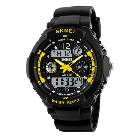 LAGGRA Men's Digital LED Date Alarm Waterproof Rubber Sports Army Wristwatch - Rewardeals