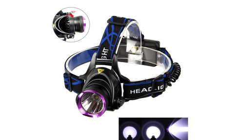 5000LM LED Rechargeable Headlight Head Lamp with 2 x 18650 Battery - Rewardeals