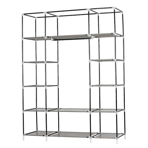 LAGGRA Portable 5 Layer Fabric Wardrobe Closet Storage with 12 Compartments - Rewardeals