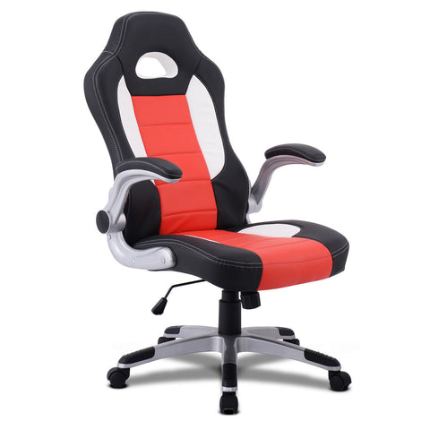 LAGGRA Heavy Duty Racing Style High Neck PU Leather Executive Bucket Seat Chair - Rewardeals